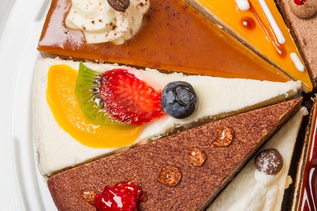 Piece of cake with fruit  Top view close-up Stock Photo - 15703943