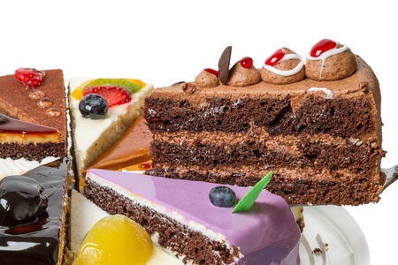 Piece of layer cake  Side view close-up Stock Photo - 15703925