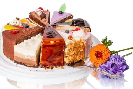 Different pieces of cake and flower  Isolated on white background Stock Photo - 15920151