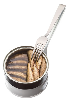 Sprats in a tin can  and  fork isolated on white background photo