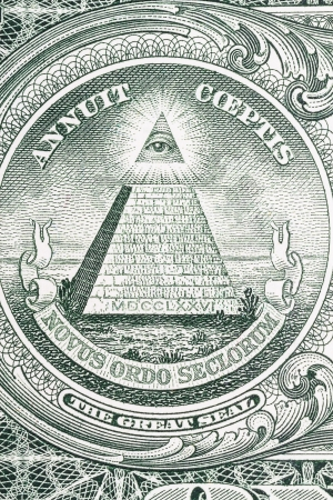 The Great Seal of the United States from the reverse of a one dollar bill. Stock Photo - 16270058