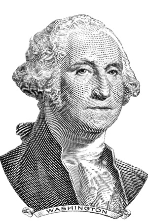 george washington: Gravure of George Washington in front of the old one dollar banknote