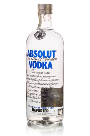 Tambov, Russia, November 15, 2012: Close-up shot Absolut Vodka bottle isolated on white background. Bottle capacity - 1 litters. Absolut is the third largest brand of alcoholic spirits in the world after Bacardi and Smirnoff, and is sold in 126 countries. Editorial