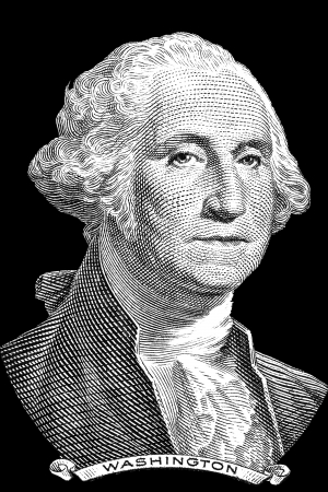 presidents': Gravure of George Washington in front of the old one dollar banknote