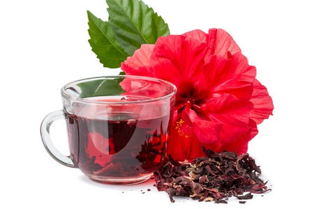 Red flower and hibiscus hot tea  Isolated on white background