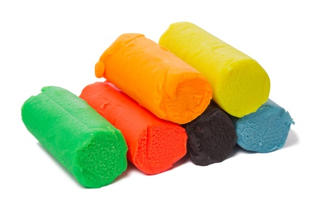 clay modeling: A set of six colors of Modeling clay. Modeling and design for children.