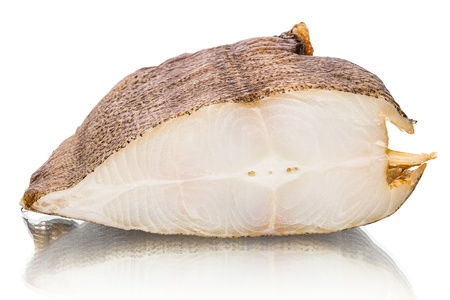 Smoked halibut isolated on white background