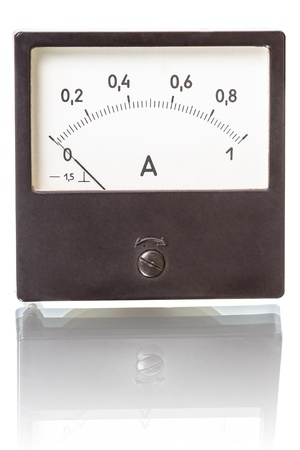 ammeter: Ammeter at 1 amp isolated on white background