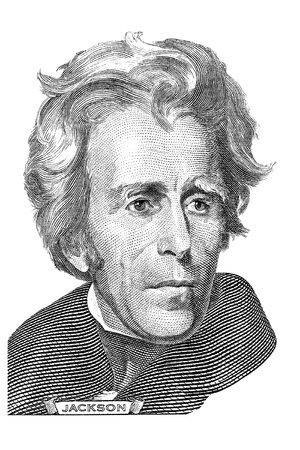 jackson: Gravure of Andrew Jackson in front of the twenty dollar banknote