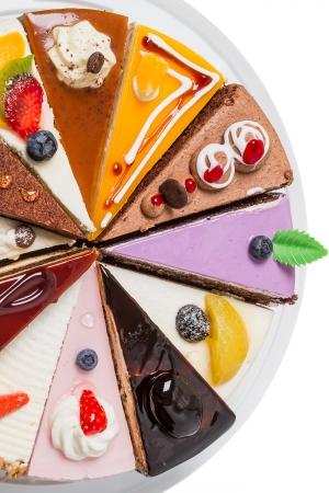 slice cake: Pi� della met� della partita di torta su bianco Vista dall'alto di close-up