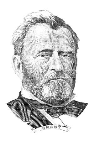 gravure: Rotocalco di Ulysses Simpson Grant davanti alla banconota cinquanta dollari