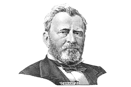 ulysses s  grant: Gravure of Ulysses S. Grant in front of the new fifty dollar banknote Stock Photo