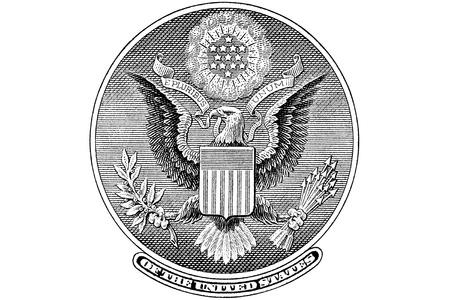 gravure: Rotocalco Grande Sigillo dal retro di una banconota da un dollaro Archivio Fotografico