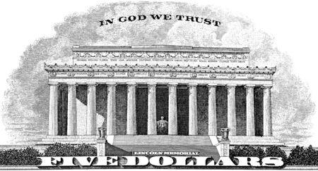 gravure: Gravure Lincoln Memorial In God We Trust dal retro di una banconota da cinque dollari Archivio Fotografico