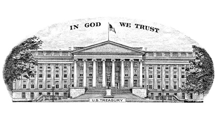 Gravure US Treasury In God We Trust from the back of a Ten dollar bill photo