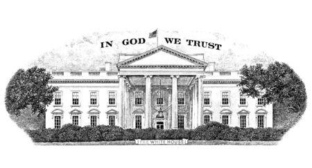 gravure: Gravure Casa Bianca dal retro di un disegno di legge di venti dollari