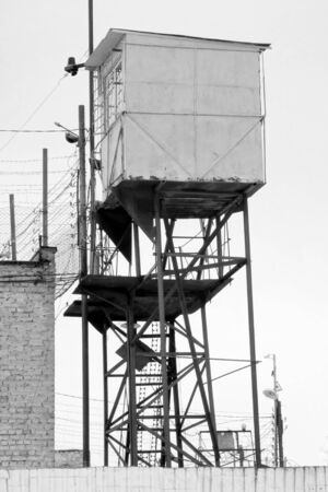 Prison Wall and Watchtower   Black and white photographs Stock Photo - 18545472
