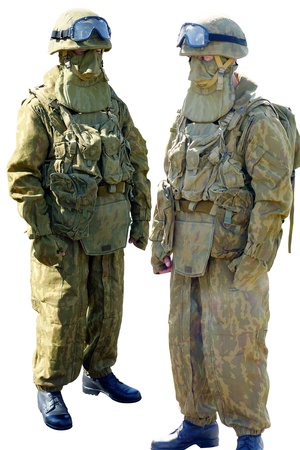 military uniform: Two soldiers in military uniform isolated on white background