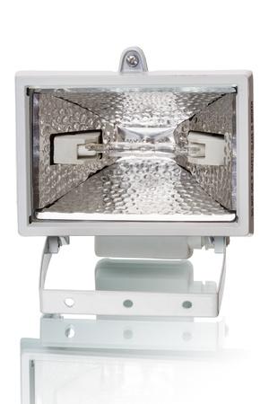 halogen lighting: Floodlight with halogen lamp isolated on black background