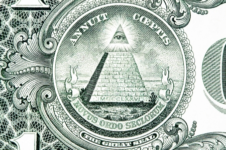 dollar bill: The Great Seal of the United States from the reverse of a one dollar bill. Stock Photo