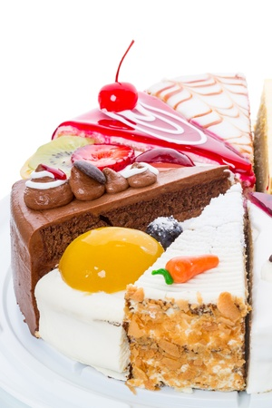 Six different parts of the original cake on white Stock Photo - 21023755