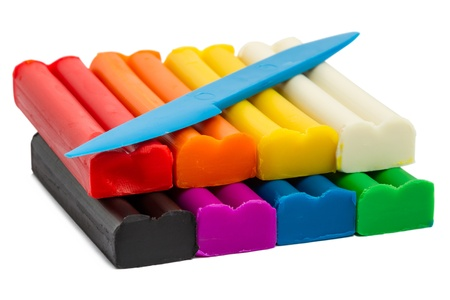 clay modeling: A set of  eight colors of Modeling clay. Modeling and design for children.  Stock Photo