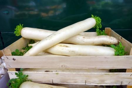 dikon: R�banos blancos gigantes asi�ticos, tambi�n conocido como daikon en una caja de madera