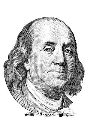 백 달러짜리 지폐의 앞의 벤자민 프랭클린의 초상화 에디토리얼