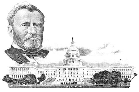 gravure: Rotocalco di Ulysses S. Grant e Campidoglio nella banconota del dollaro cinquanta