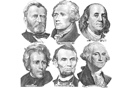 Engravings of portraits of six presidents with U S  dollar bills Editorial