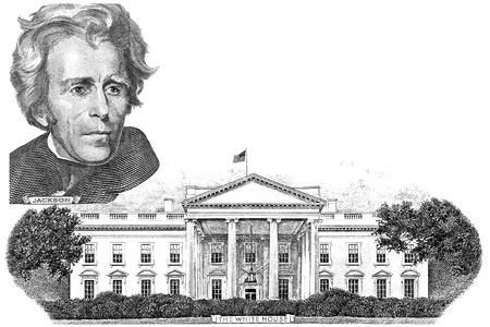 gravure: Gravure of Andrew Jackson and  White house in the twenty dollar banknote Editorial