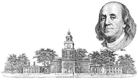 gravure: Rotocalco di Benjamin Franklin e Independence Hall nella banconota da cento dollari