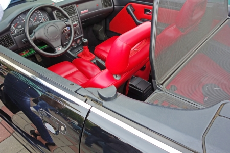 Red seats and black interior convertible photo