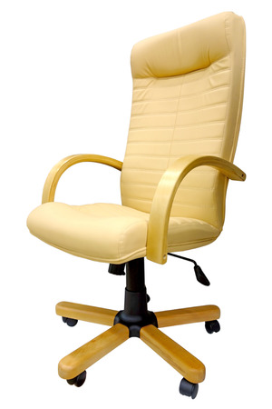 Modern White leather chair isolated on white background                                photo