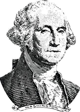 george washington: Huecograbado de George Washington en el anverso del billete dólar antiguo Vectores