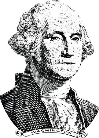 Gravure of George Washington in front of the old one dollar banknote