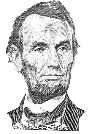 5 달러 지폐의 전면에있는 에이브 러햄 링컨 벡터의 초상화 일러스트