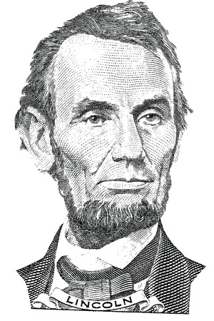 engraved image: Retrato de Abraham Lincoln vector delante del billete de cinco d�lares