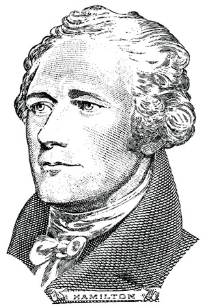 alexander hamilton: Ritratto di Alexander Hamilton vettore di fronte alla banconota da dieci dollari