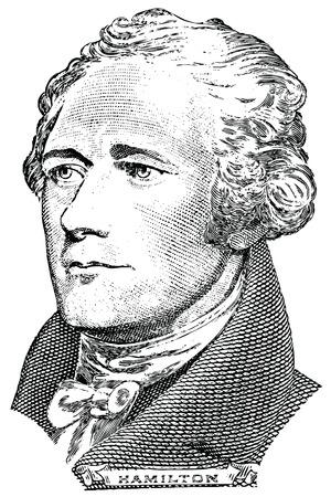 Portrait of Alexander Hamilton  vector  in front of the ten dollar bill