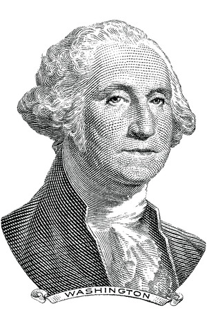 Gravure of George Washington  vector  in front of the old one dollar banknote