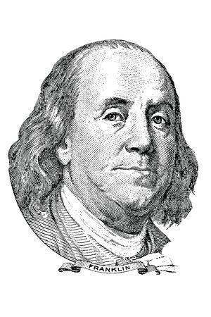100 달러짜리 지폐의 앞에 벤자민 프랭클린 벡터의 초상화