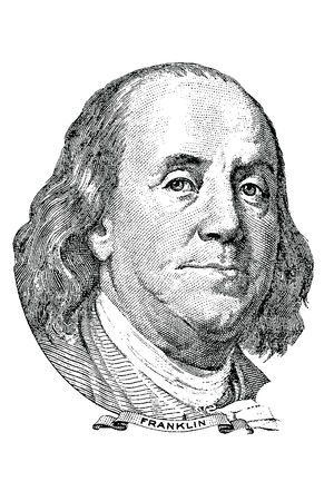 Portrait of Benjamin Franklin   vector  in front of the one hundred dollar bill