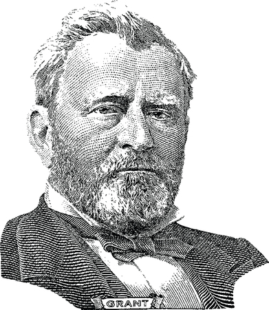 Gravure of Ulysses S  Grant  vector  in front of the fifty dollar banknote Illustration