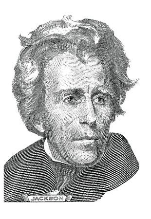 gravure: Gravure of Andrew Jackson  vector  in front of the twenty dollar banknote Illustration