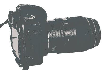digital slr: Modern digital SLR camera with lens attached