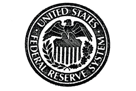 Sign of the Federal Reserve System in the U S  paper money Illustration