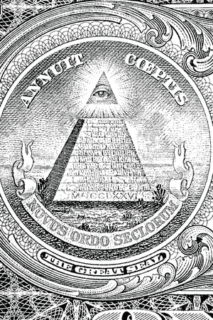 us dollars: The Great Seal of the United States from the reverse of a one dollar bill  Illustration