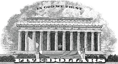 five dollar bill: Gravure Lincoln Memorial In God We Trust from the back of a Five dollar bill
