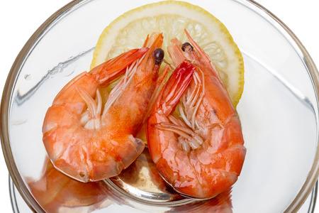 prepared shrimp: Prepared Shrimp with lemon on white  Stock Photo